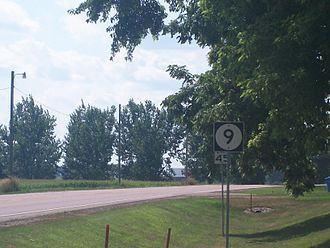 Iowa Highway 9 - Iowa 9 looking west in Larchwood