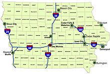 Iowa - Wikipedia Major Cities In Iowa Map on map counties in iowa, map rivers in iowa, map state parks in iowa,