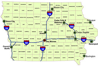 Iowa's major interstates, larger cities, and counties Iowa overview.jpg