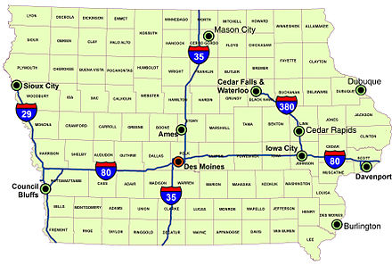 Iowa's major interstates, larger cities, and counties. Iowa overview.jpg