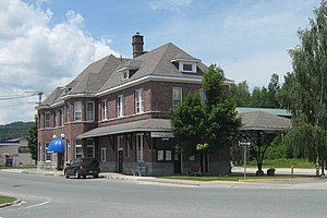Island Pond, Vermont - The former Grand Trunk Railroad station is now a bank branch and offices.