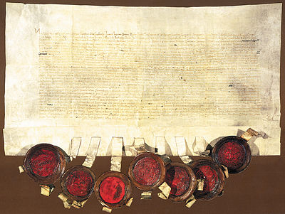 The Cetingrad Charter from 1 January 1527, when Croatian Sabor elected the Habsburg Monarchy. Isprava o izboru Ferdinanda I., Cetin 1527.jpg