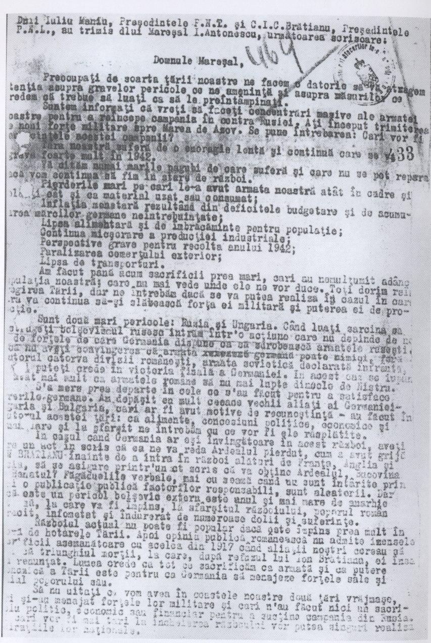 Iuliu Maniu and IC Bratianu 1942 memorium for Ion Antonescu