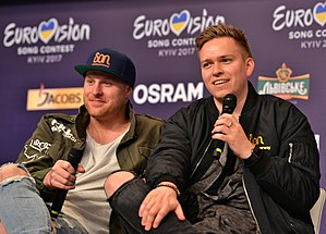 Norway in the Eurovision Song Contest 2017 - JOWST (right) together with Aleksander Walmann during a press meet and greet