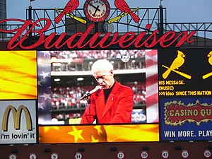 Jack Buck - Video Replay on the scoreboard at Busch Stadium shown on the 5th anniversary of the 9/11 attacks of Buck reading his For America poem at Busch Memorial Stadium before the first Cardinals game after the 9/11 attacks.