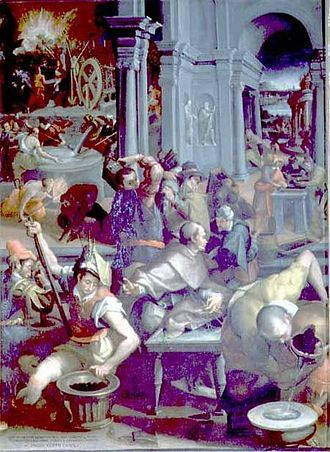 Studiolo of Francesco I - The Invention of Gunpowder by Jacopo Coppi