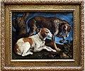 Jacopo bassano, due cani da caccia presso un ceppo, 1548.jpg