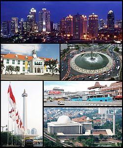 (From top, left to right): Jakarta Skyline, Jakarta Old Town, Hotel Indonesia Roundabout, Monumen Nasional, Jakarta traffic, Istiqlal Mosque