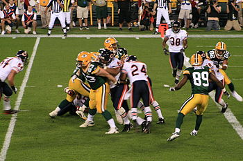 James Jones (wide receiver) blocking during a ...