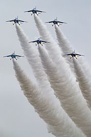 Japan air self defense force Kawasaki T-4 Blue Impulse RJAH Christmas tree.jpg