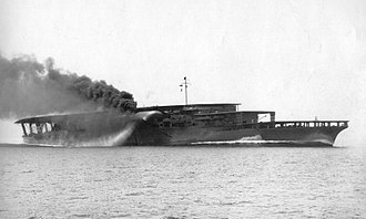Japanese aircraft carrier Akagi - Akagi on trials off the coast of Iyo, 17 June 1927, with all three flight decks visible