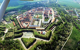 Brutal Assault - Jaroměř from air, with the fortress visible at the bottom of the picture.