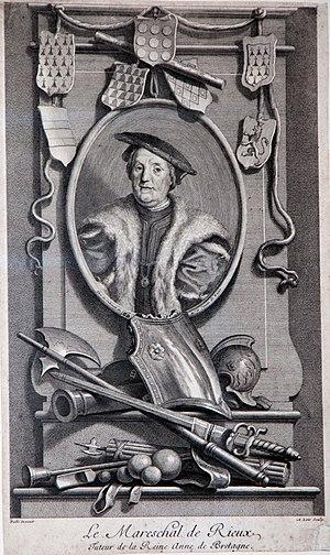 Jean IV de Rieux - 18th century engraving of Jean IV de Rieux by Alexis Loir after Noël Hallé