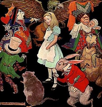 Alice's Adventures in Wonderland - Jessie Willcox Smith's illustration of Alice surrounded by the characters of Wonderland. (1923)