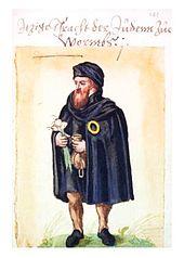 Dessin en couleur représentant un homme barbu portant la rouelle sur son manteau.