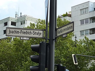 Joachim Frederick, Elector of Brandenburg - Joachim-Friedrich Strasse street sign, Berlin