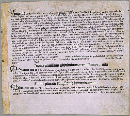 Johannes Gutenberg - Lettre d'indulgence (pour l'expédition contre les Turcs et la défense de Chypre), (Mayence, Johannes Gutenberg, 1455) - Google Art Project