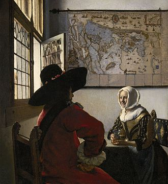 Dutch art - Officer and a Laughing Girl by Vermeer