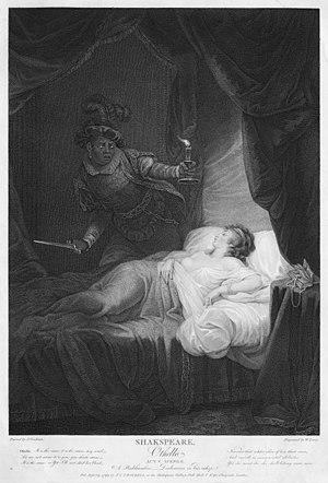 John Graham (painter) - A Bedchamber, Desdemona in Bed asleep (Act V, scene 2), illustrating Othello, by John Graham for John Boydell's Shakespeare folio
