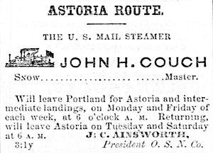 John H. Couch (side-wheeler) - Advertisement for John H. Couch, November 10, 1866.