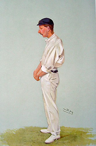 "Johnny Tyldesley - ""Forty-six centuries in eleven years."" Johnny Tyldesley as caricatured by ""Spy"" (Leslie Ward) in Vanity Fair, August 1906."