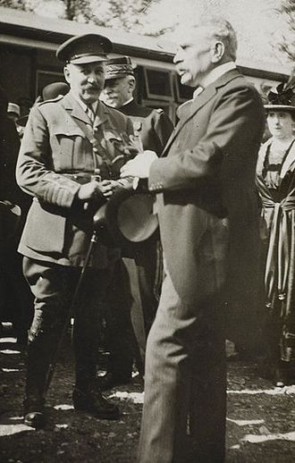Robert Borden - Sir Robert Borden (right) at the official opening of No. 6 Canadian General Hospital, Joinville-le-Pont, France, July 1918