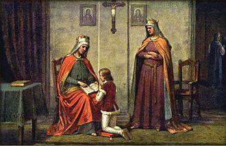 Drahomíra - Ludmila and Drahomíra with young Wenceslaus, 19th-century painting
