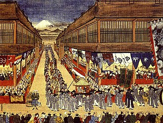 Joseon Tongsinsa - A Joseon diplomatic procession through the streets of Edo in 1748 is entitled Chōsen-jin Uki-e by Hanegawa Tōei, c. 1748