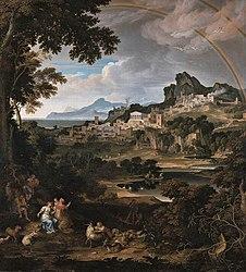 Joseph Anton Koch: Heroic landcape with Rainbow