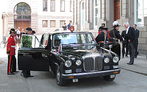 Lieutenant Governor of Jersey - Liberation Day 2010: The Lieutenant Governor, having arrived in the Royal Square in his official car, greets the Bailiff of Jersey.