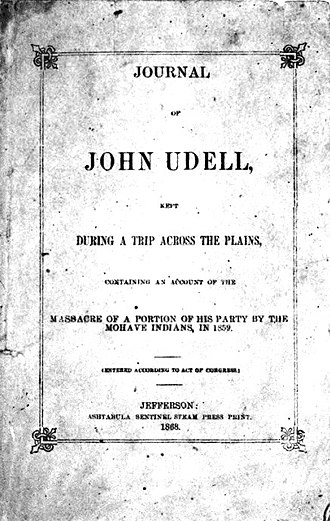 John Udell - Journal of John Udell, Kept During a Trip Across the Plains (1868 cover)
