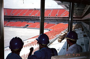 Hard Rock Stadium - County officials check out the interior of the stadium, April 24, 1987