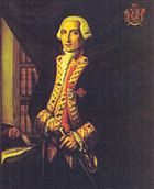 A three quarter length portrait of Admiral Langara, painted when he was younger. He stands before a dark curtain partially pulled aside, revealing a bookcase. His left hand rests on his sword. His coat is a dark color with gold braiding on the lapels, and a red waistcoat is visible underneath.