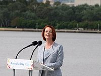 Prime Minister Julia Gillard speaking at the 2013 National Flag Raising and Citizenship ceremony