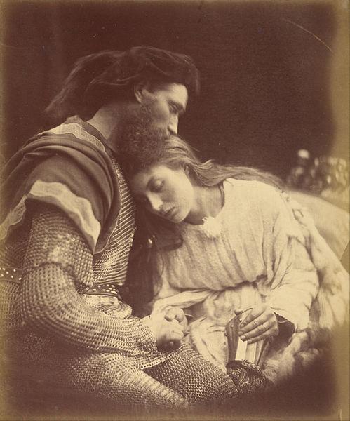 Lancelot despedindo-se de Guinevere (1874). Inspiradas em episódios ficcionais, históricos ou bíblicos, imagens como essa foram mal vistas pelos fotógrafos e adoradas pelos artistas da época.