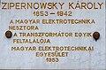 Károly Zipernowsky plaque Budapest03.jpg