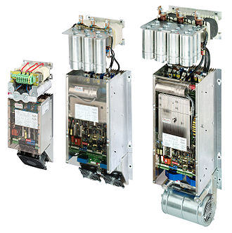 Adjustable-speed drive - Line regenerative variable frequency drives, showing capacitors (top cylinders) and inductors attached which filter the regenerated power.