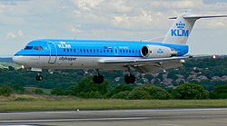 KLM cityhopper Fokker 70 (PH-WXC) landing at Leeds Bradford International Airport.jpg