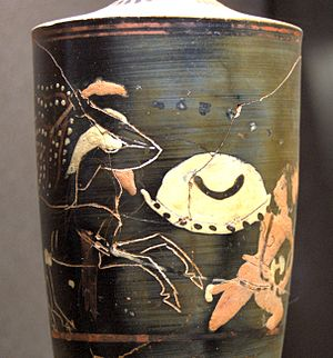 Caeneus - Caeneus fighting with a centaur, Attic lekythos with decoration in superposed colours, ca. 500-490 BC, Louvre (CA 2494).