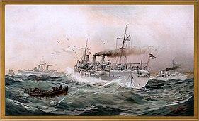 Kaiserliche Marine Greif, Meteor und Jagd spähen bei Brüsterort, Chromo-Lithographie von Willy Stöwer 1894, nr9 aus G. Wislicenus, Unsre Kriegsflotte.jpg
