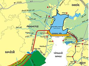 Kalpasar Project - Map of proposed project (in Gujarati)