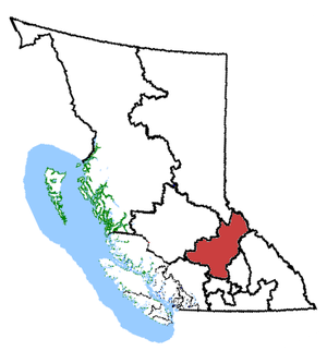 Kamloops—Thompson—Cariboo - Kamloops—Thompson—Cariboo in relation to other British Columbia federal electoral districts