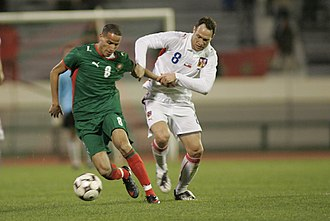 Karim El Ahmadi - El Ahmadi clashing with Jan Polák during a match against Czech Republic.