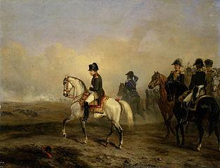 Keizer Napoleon I en zijn staf te paard
