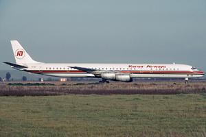 Kenya Airways - An Ireland-registered Douglas DC-8-70 wearing Kenya Airways livery at Fiumicino Airport in 1990