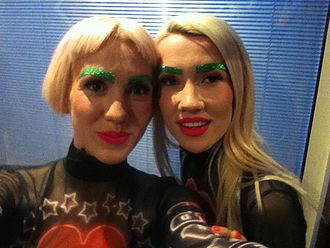 Blonde Electra - Blonde Electra singers Jazzy and Ruby King in their stage outfits at the first Live Show of X Factor UK, 11 October 2014