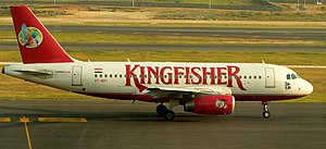 History of Kingfisher Airlines - Airbus A319 on runway of Rajiv Gandhi International Airport, Hyderabad