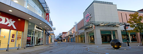 A panoramic view of the Vancouver Shopping District