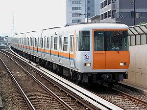 Keihanna Line - Kintetsu 7000 series trainset on the Keihanna Line
