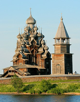 Karelia - Kizhi Pogost, one of many fine examples of wooden architecture surviving on Kizhi island.